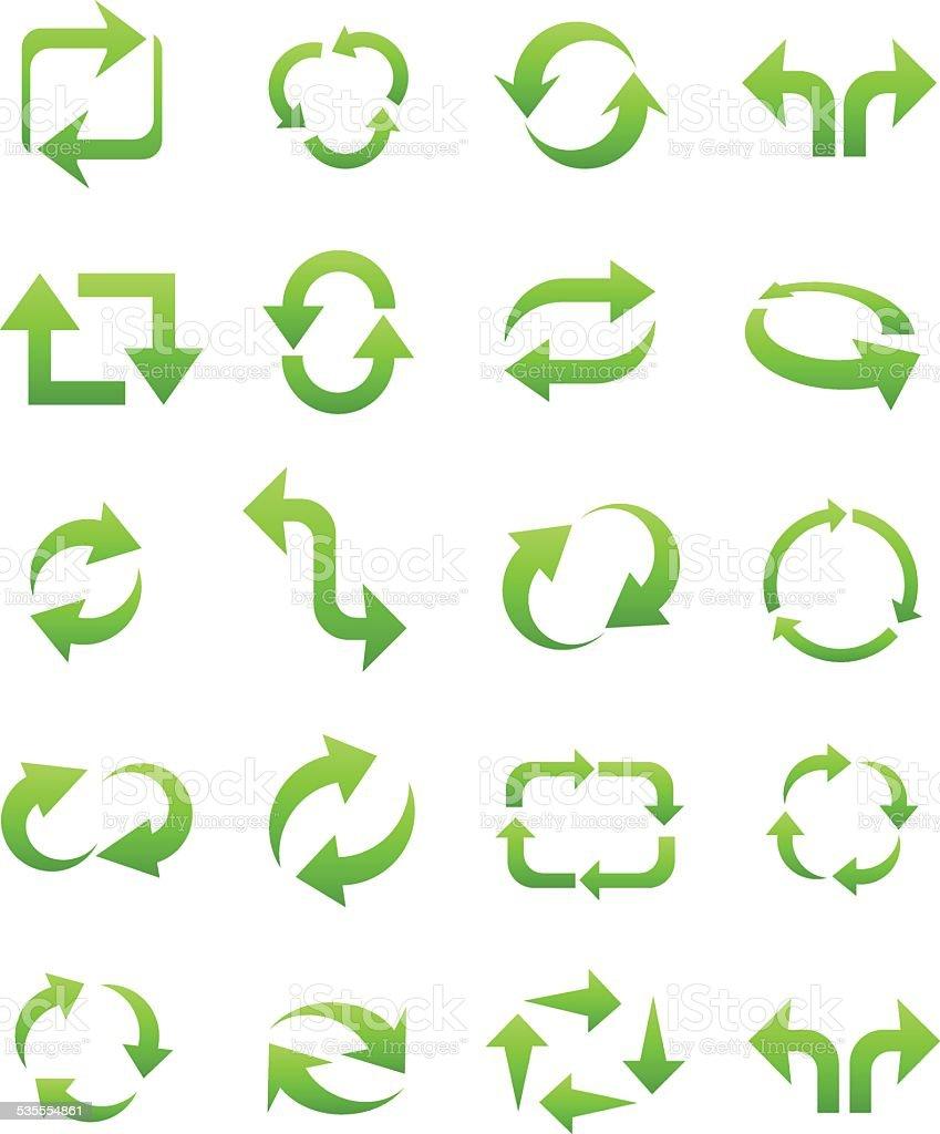 Eco green arrows vector art illustration