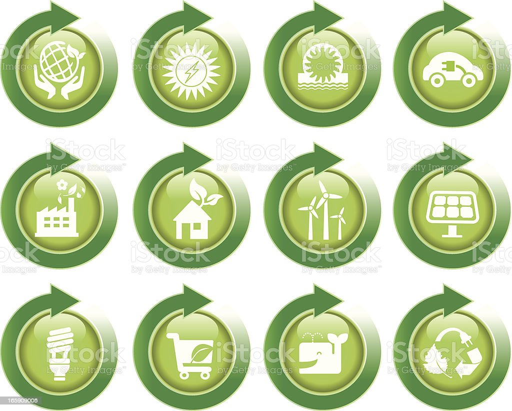 eco green energy icons with arrow royalty-free stock vector art