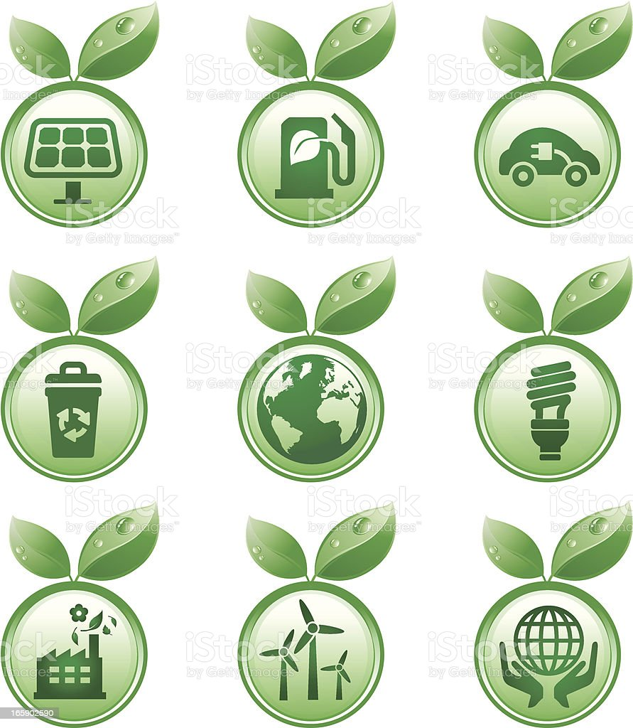 eco green energy icons with leaves royalty-free stock vector art
