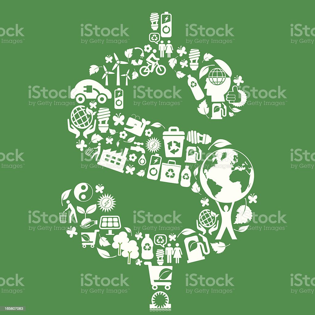 eco green icons in dollar symbol montage royalty-free stock vector art