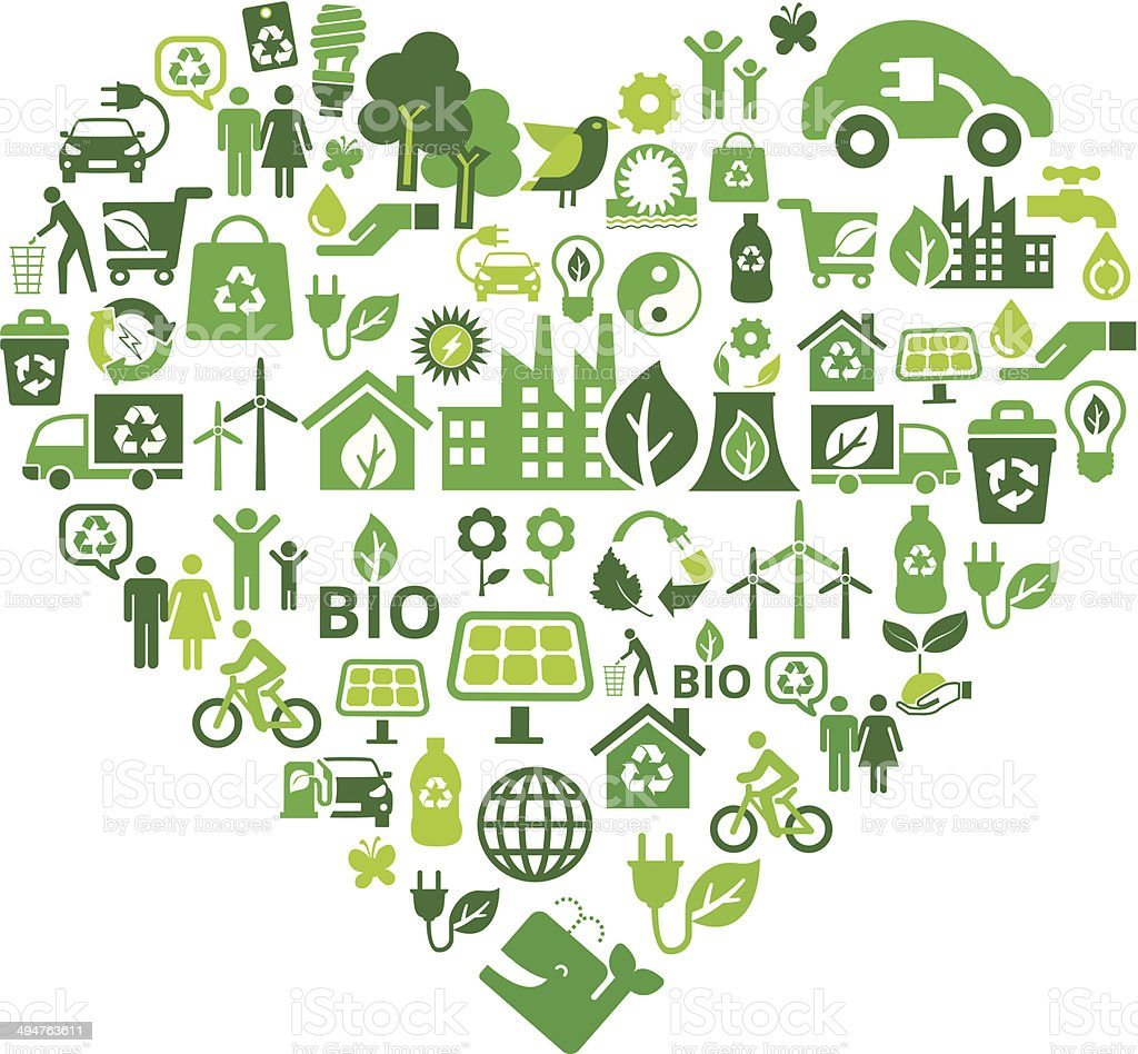 eco green icons in heart shape vector art illustration