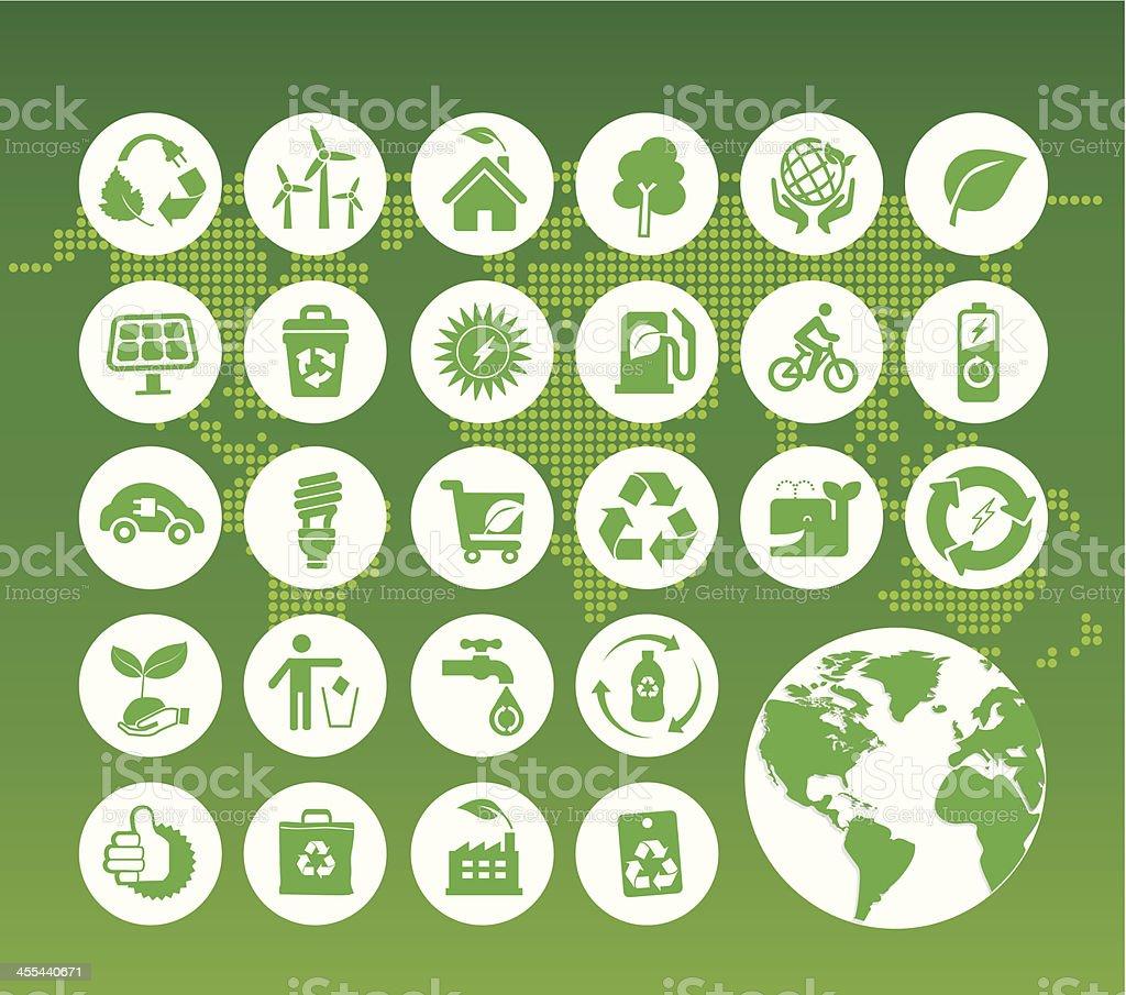 eco green icons on digital world map vector art illustration