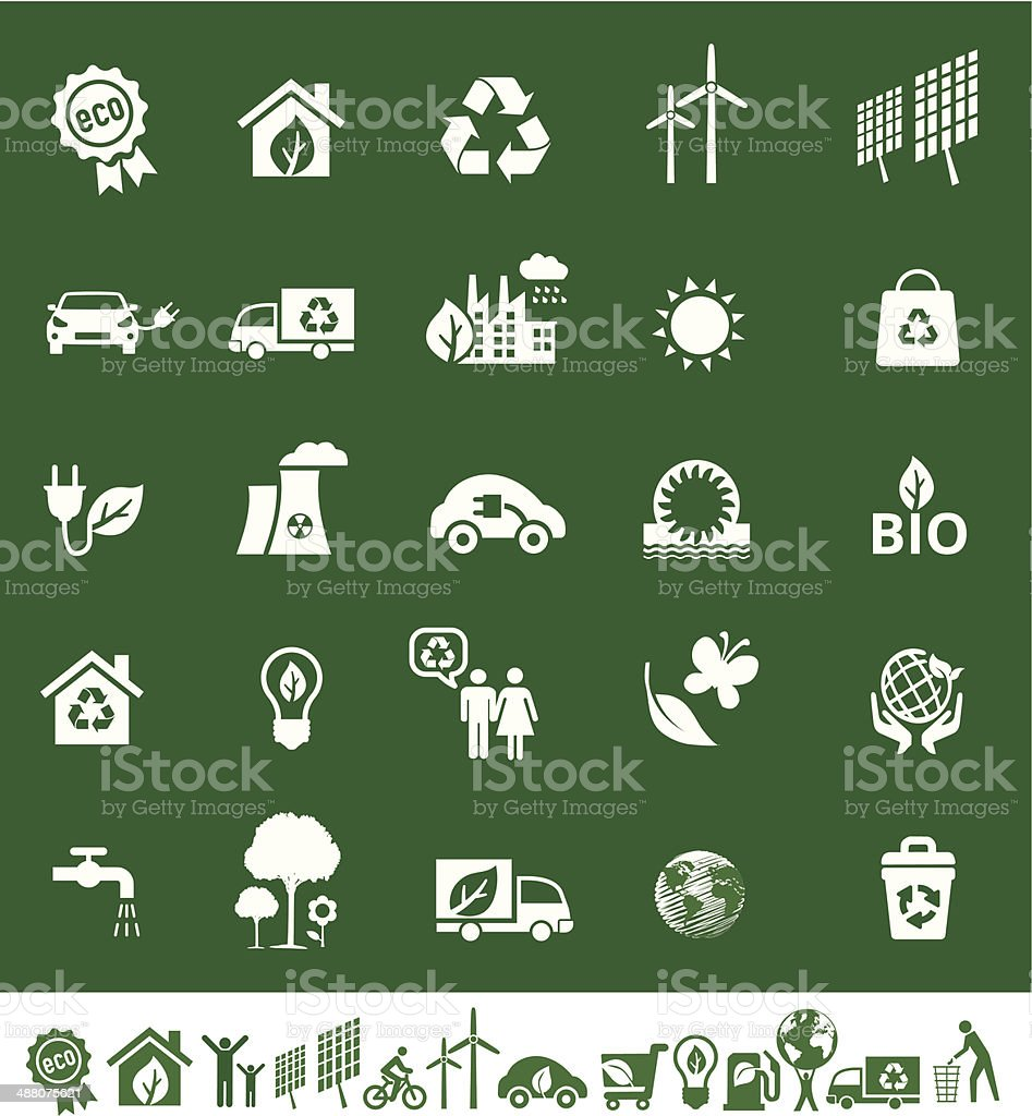 Eco Green Icons Set vector art illustration
