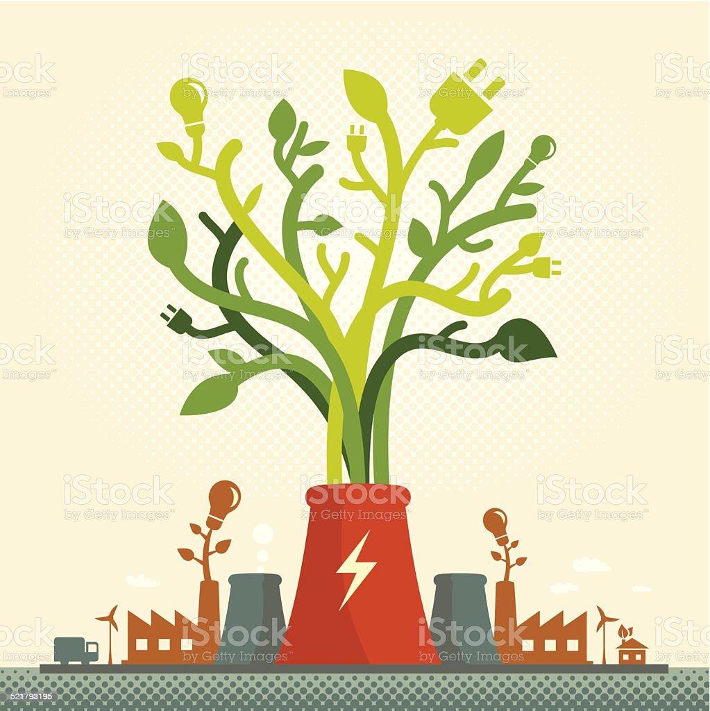 Eco Green Power vector art illustration