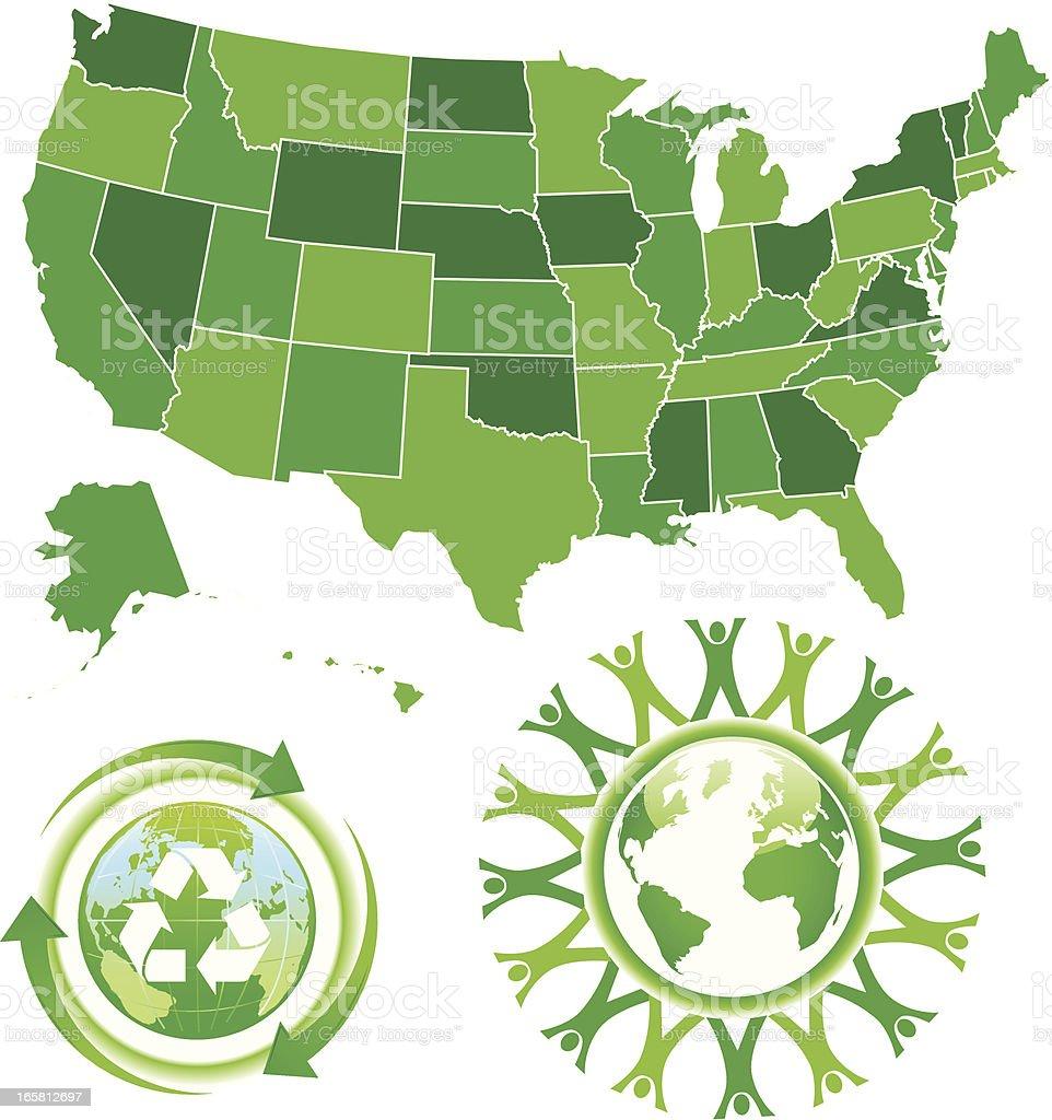 eco green USA and world map royalty-free stock vector art