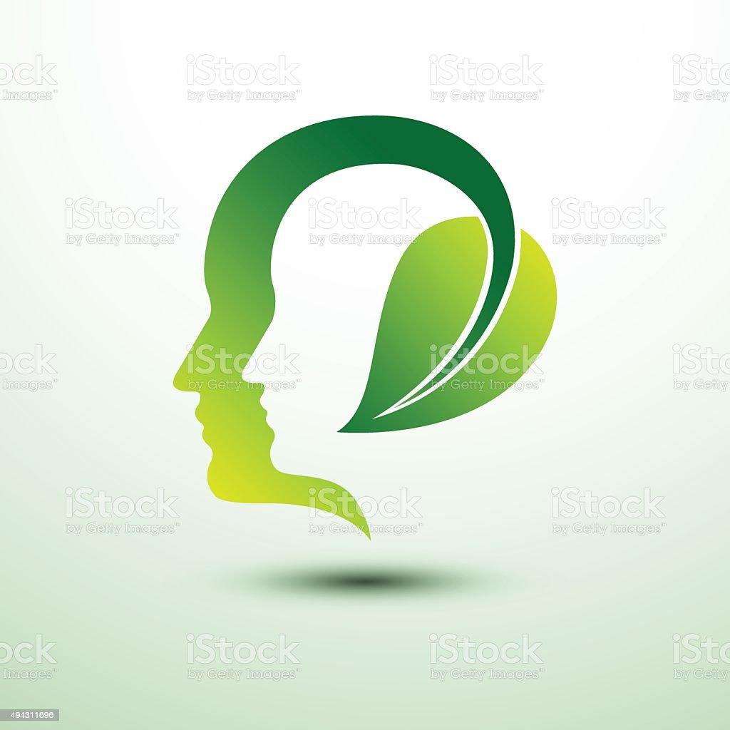 Eco head vector art illustration
