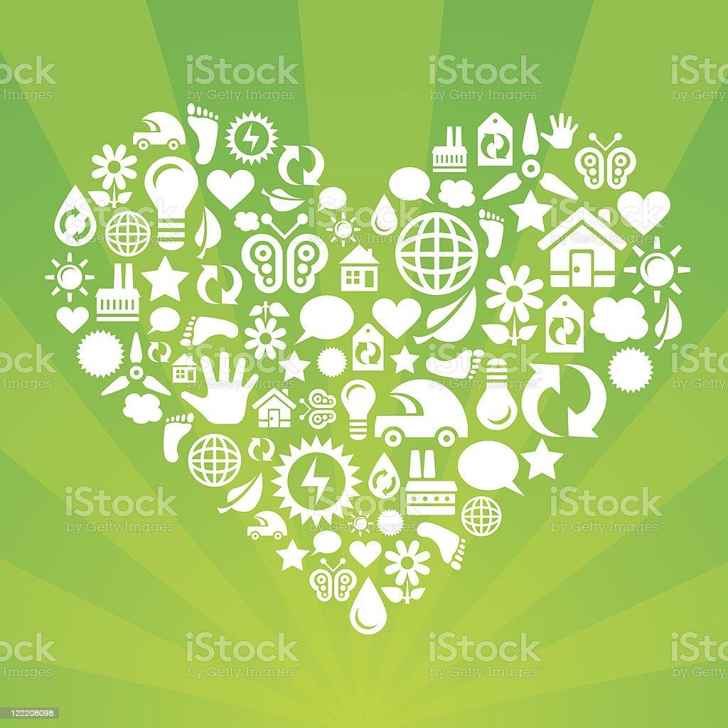 Eco heart vector art illustration