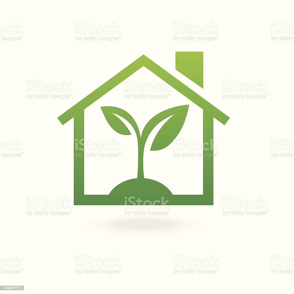 Eco house concept green vector art illustration