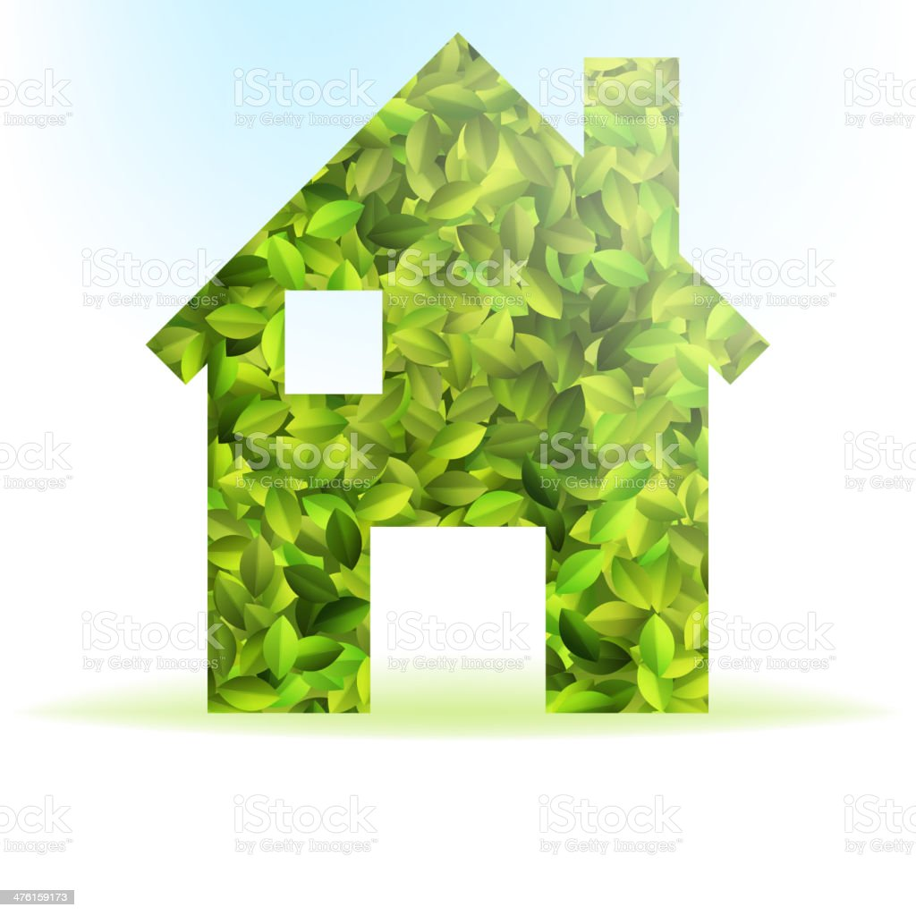 Eco house icon with green leaves. + EPS10 royalty-free stock vector art