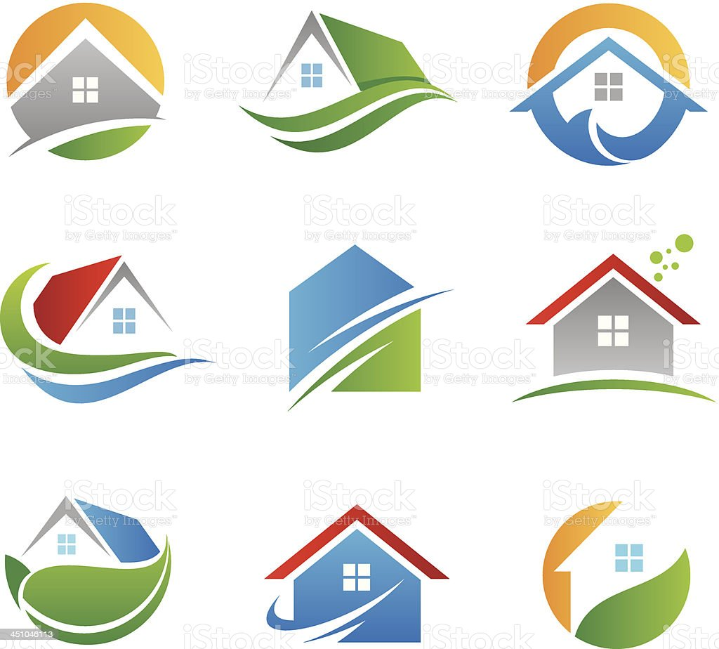 Eco house logos and icons vector art illustration
