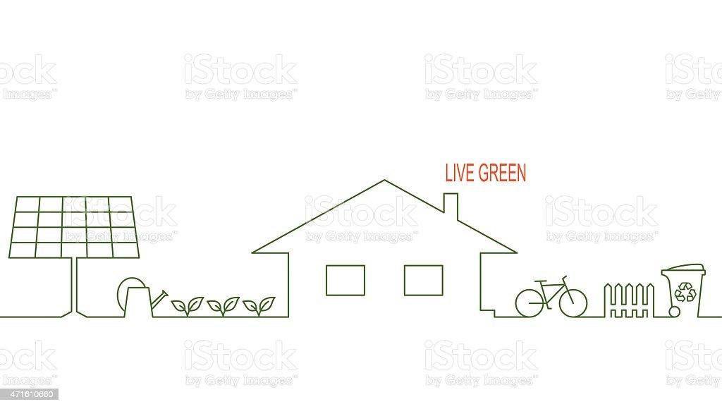 Eco house vector art illustration