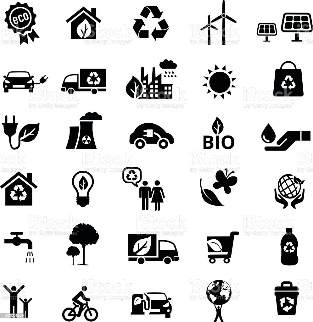 eco icon set in black and white vector art illustration