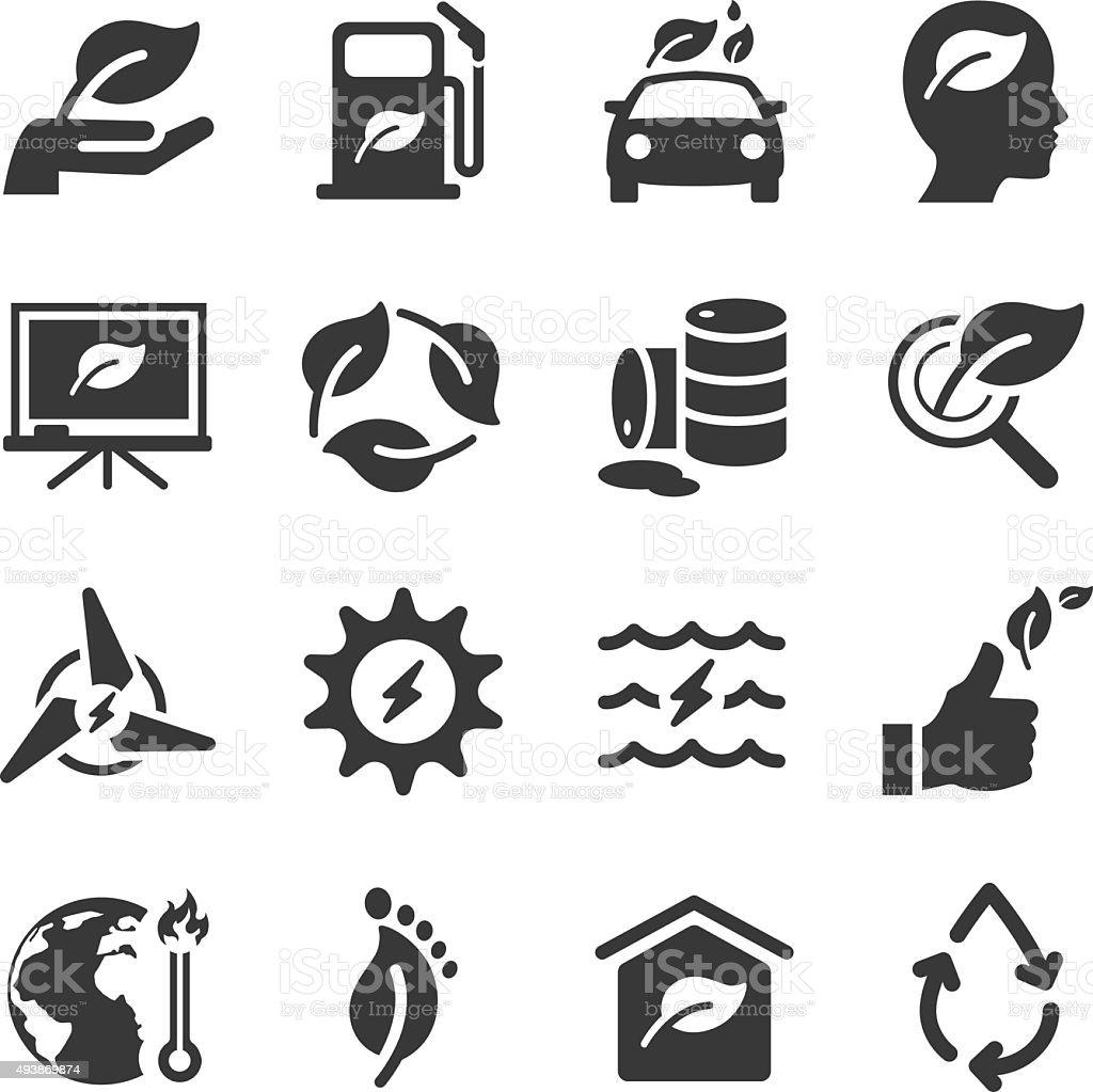 Eco icons set vector art illustration