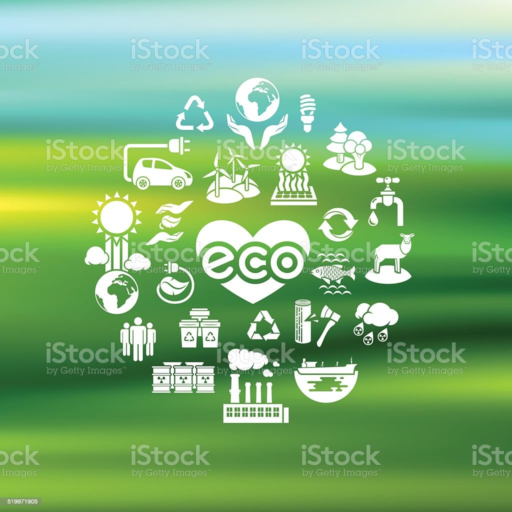Eco Icons Silhouettes on Blurred Background vector art illustration
