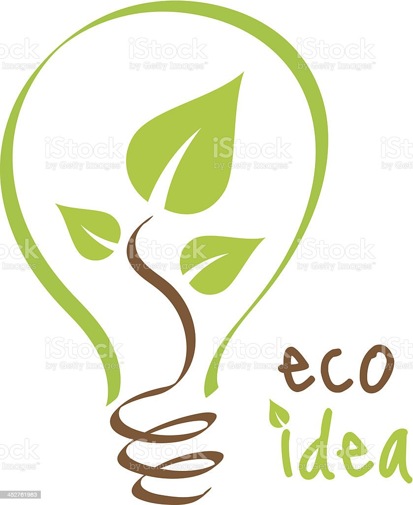 Eco idea logo green thinking solution vector art illustration