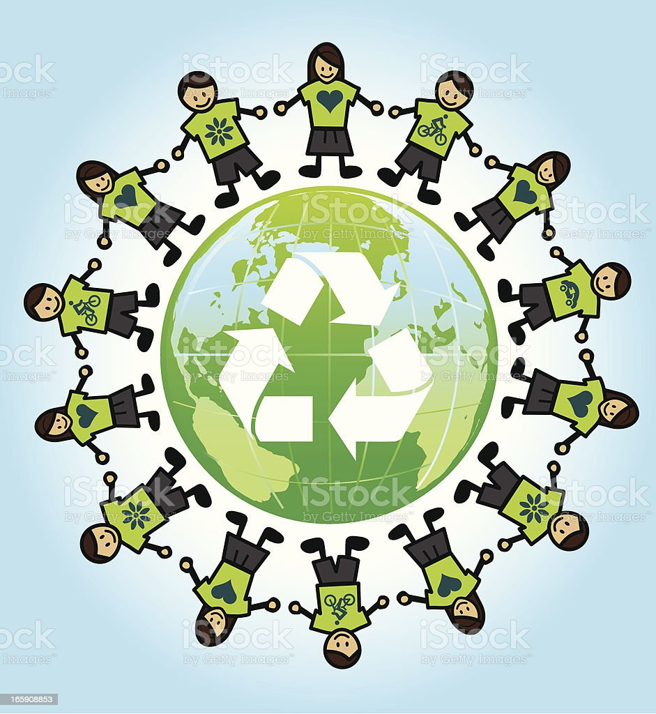 eco kids around the world with recycling symbol vector art illustration