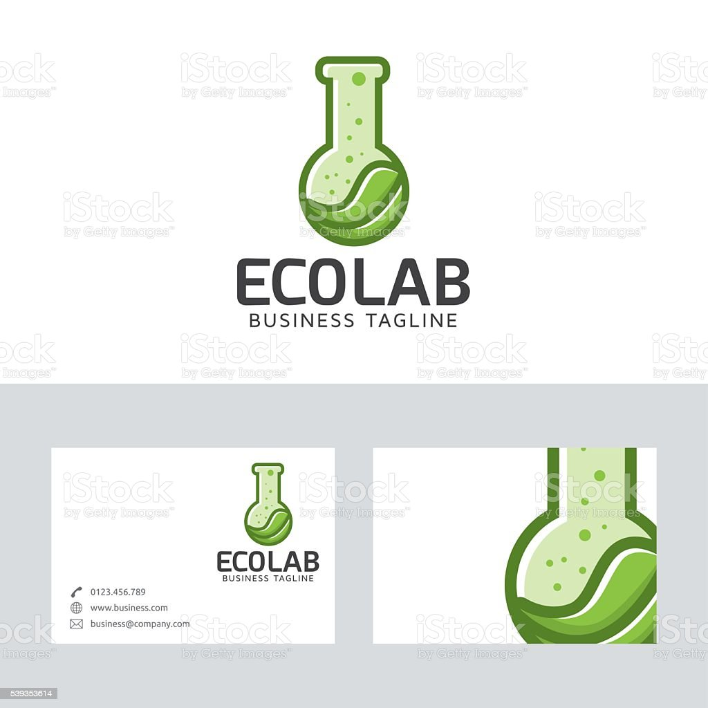 Eco lab vector logo with business card template vector art illustration