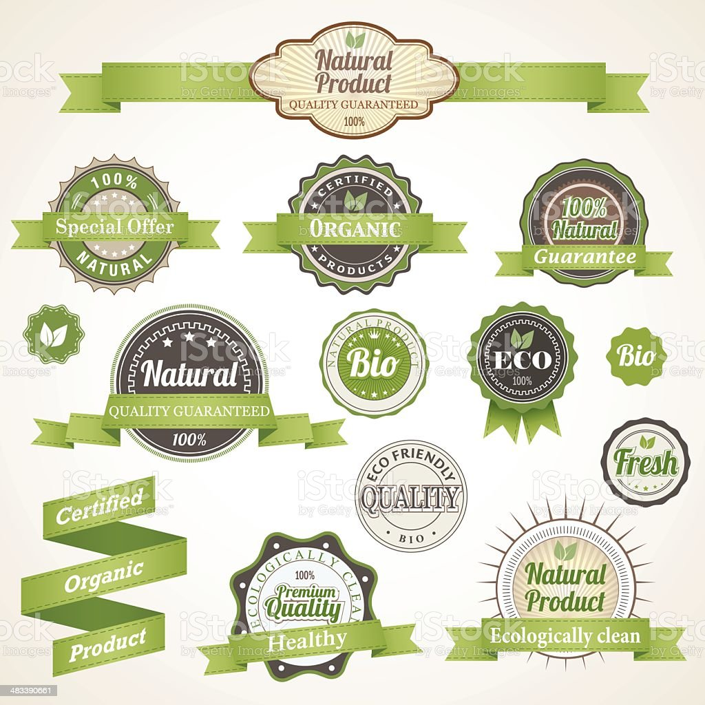 Eco Labels and Badges vector art illustration