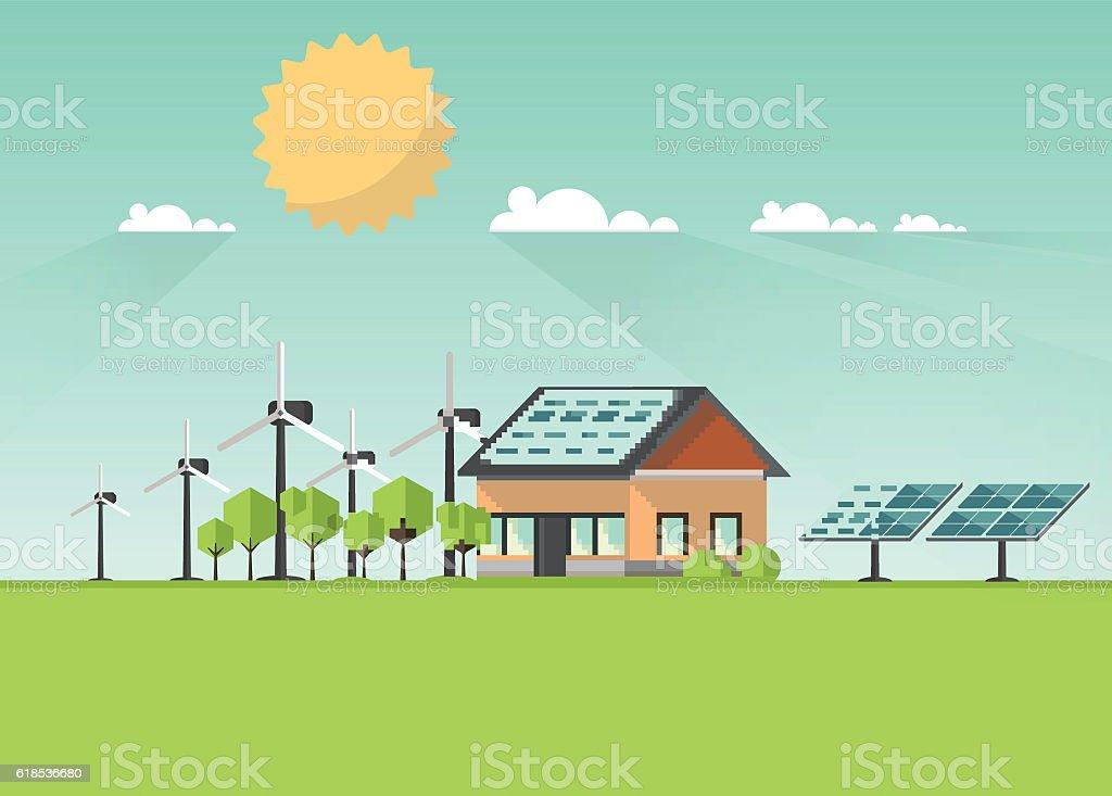 Eco Landscape Flat Design. Eco concept. Illustration of solar panel. vector art illustration