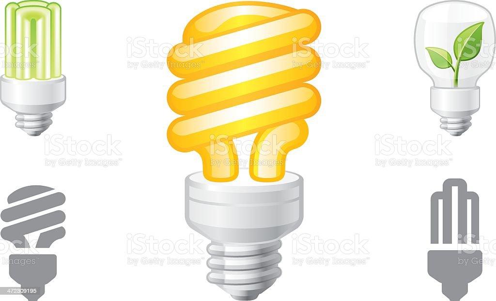 Eco lightbulb object icons royalty-free stock vector art