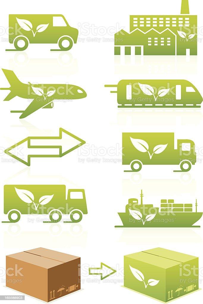 Eco Logistics Icon Set royalty-free stock vector art