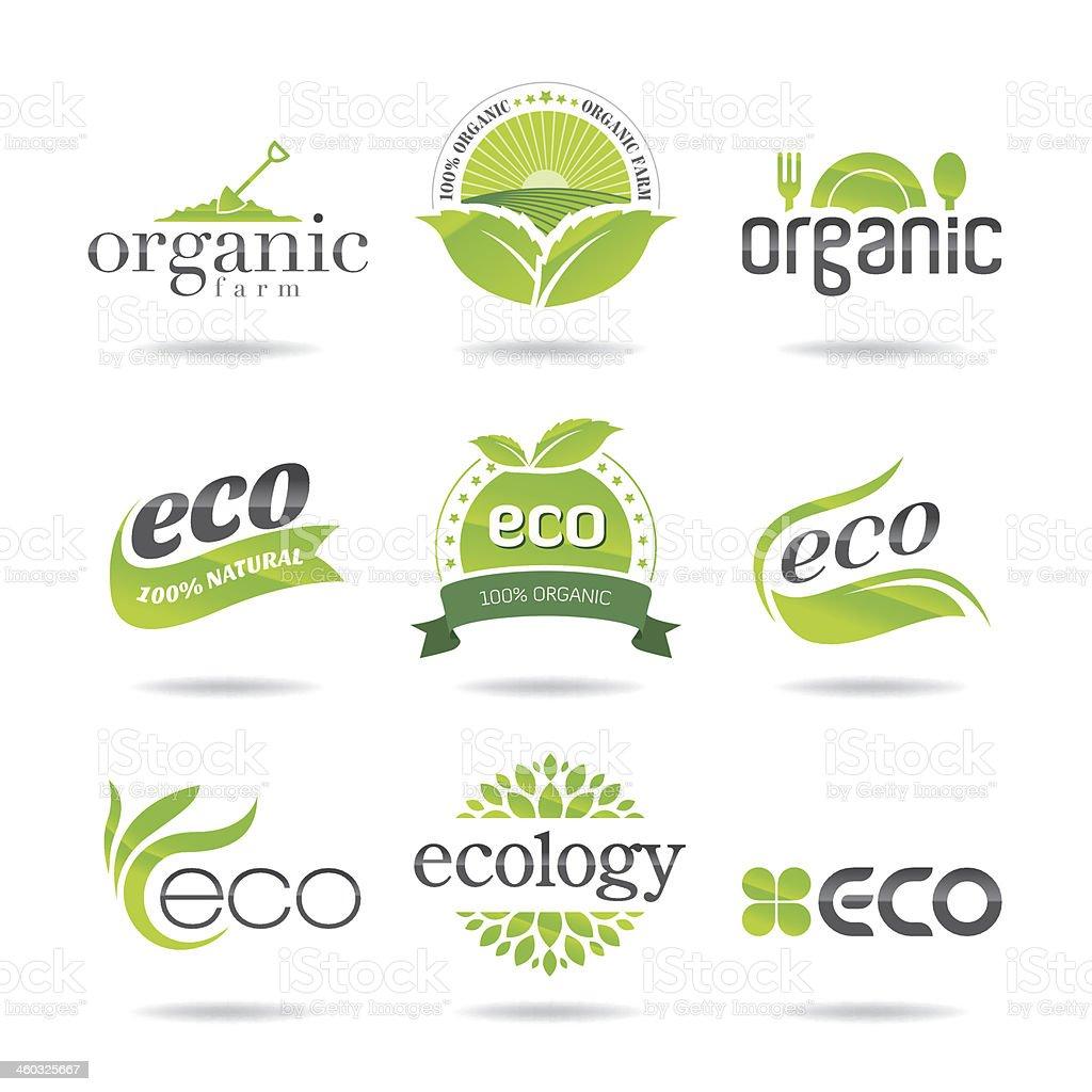 Eco logo icon set of nine stamps vector art illustration