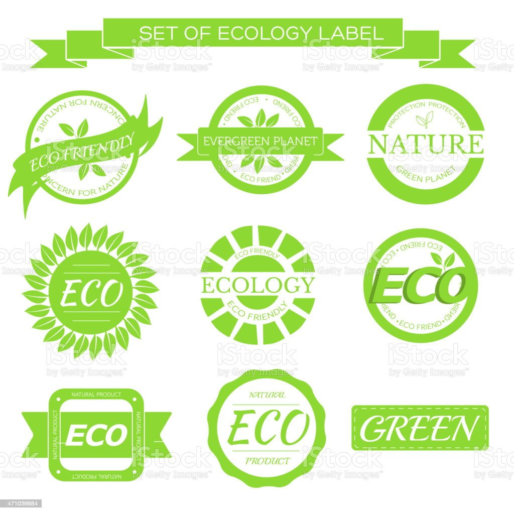 eco, nature, organic white label on isoleted green background concept vector art illustration