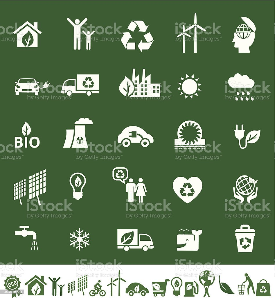 eco or ecology icons vector art illustration