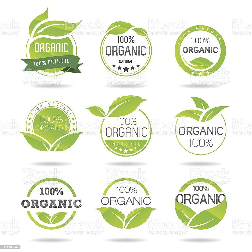 Eco, Organic Icons Set vector art illustration