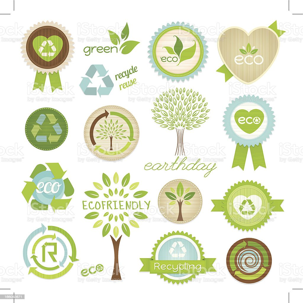 Eco Recycle Tags and Symbols vector art illustration