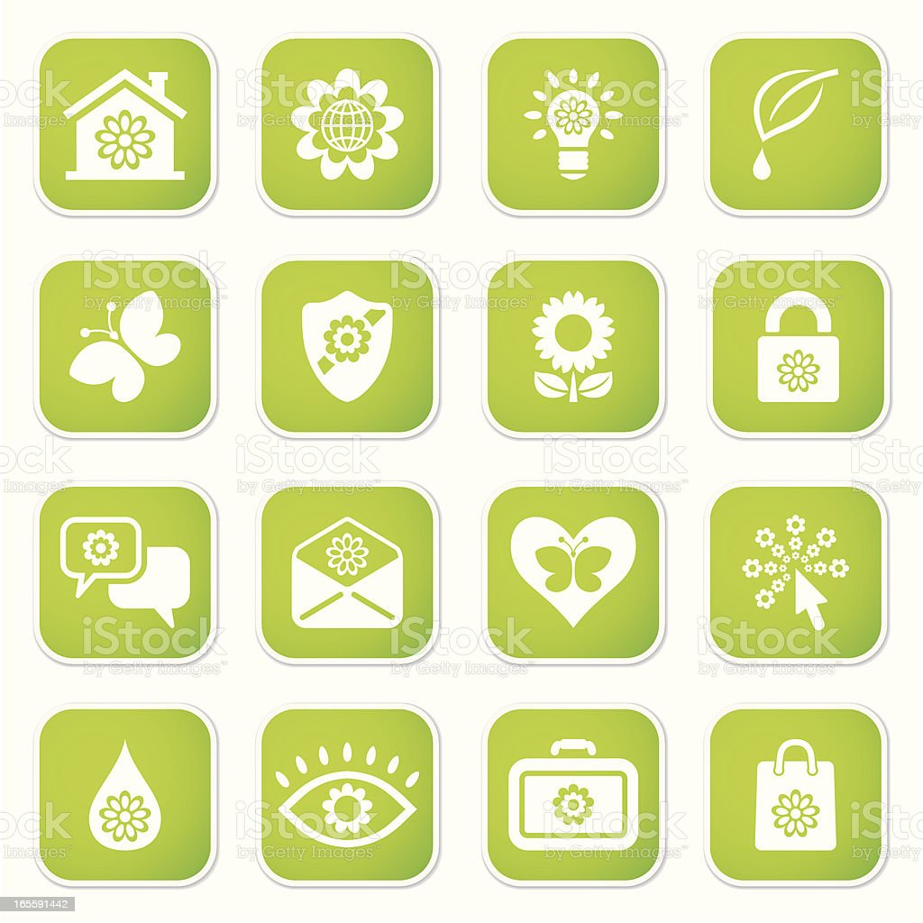 eco set sq stickers royalty-free stock vector art