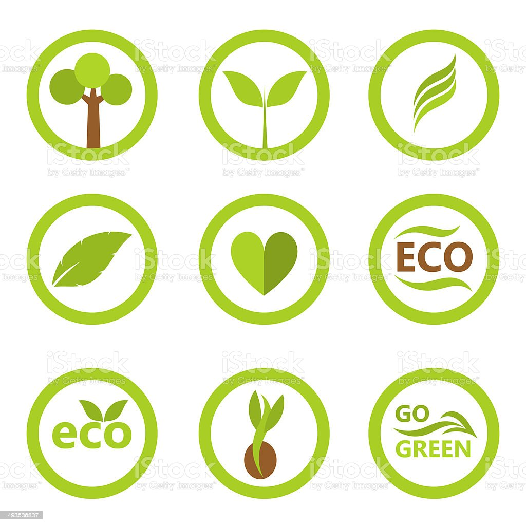 Eco symbols and icons vector art illustration