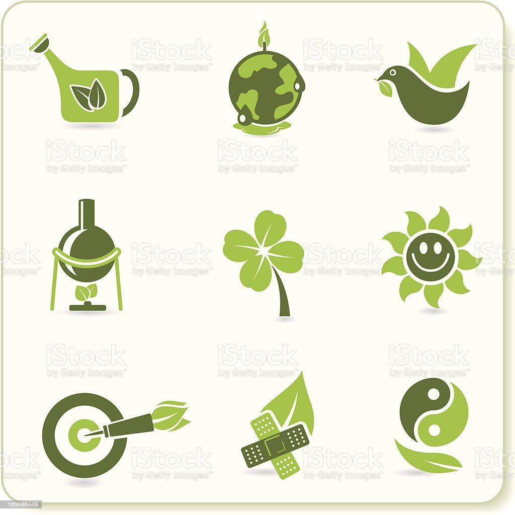 9 Eco symbols in shades of green royalty-free stock vector art