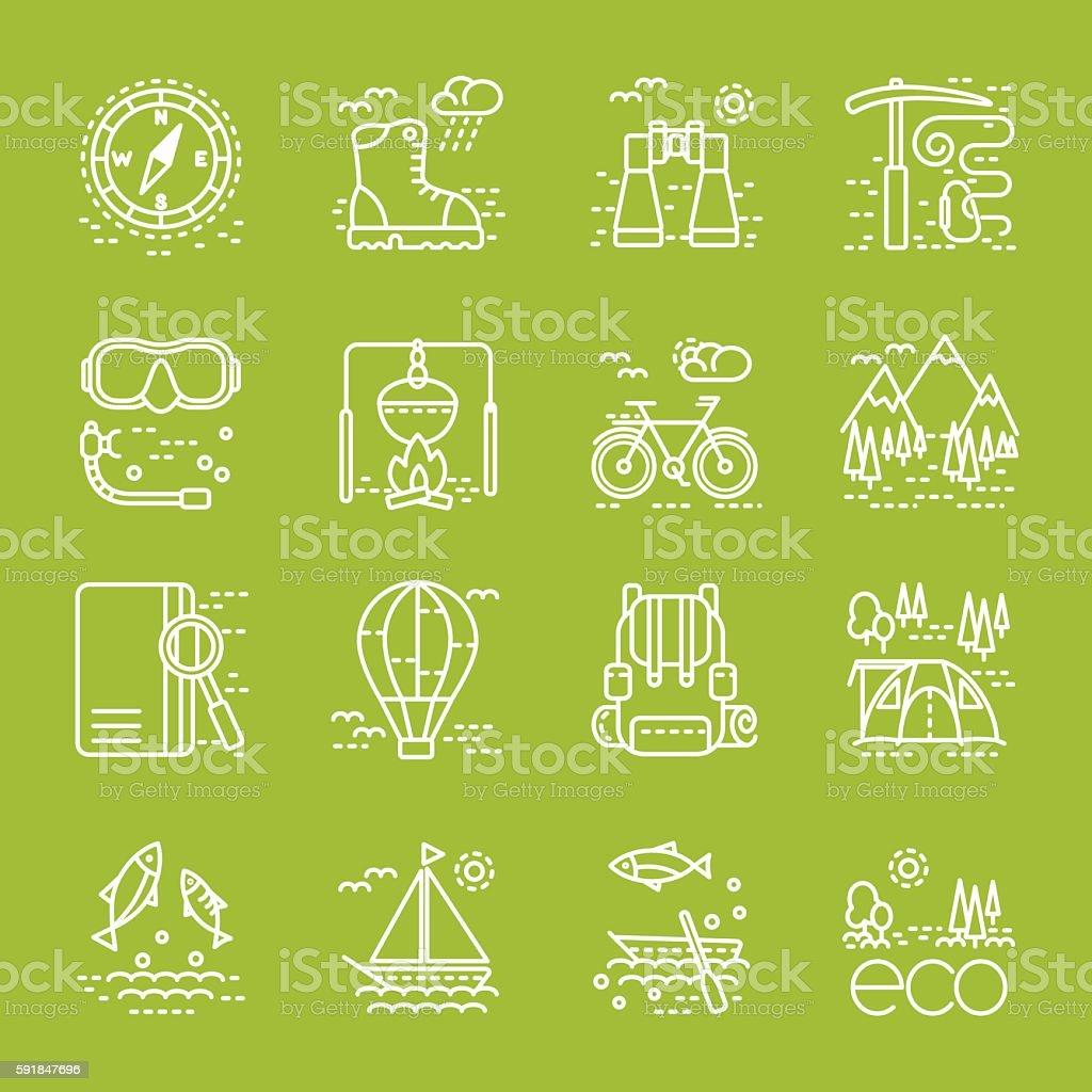 Eco tourism icons set on green background vector art illustration