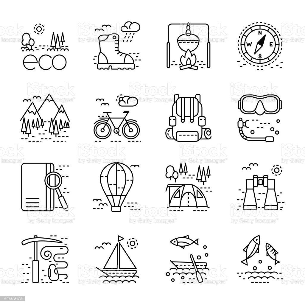 Eco tourism icons set on white background. vector art illustration