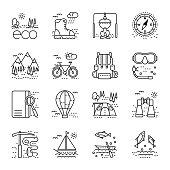 Eco tourism icons set on white background.