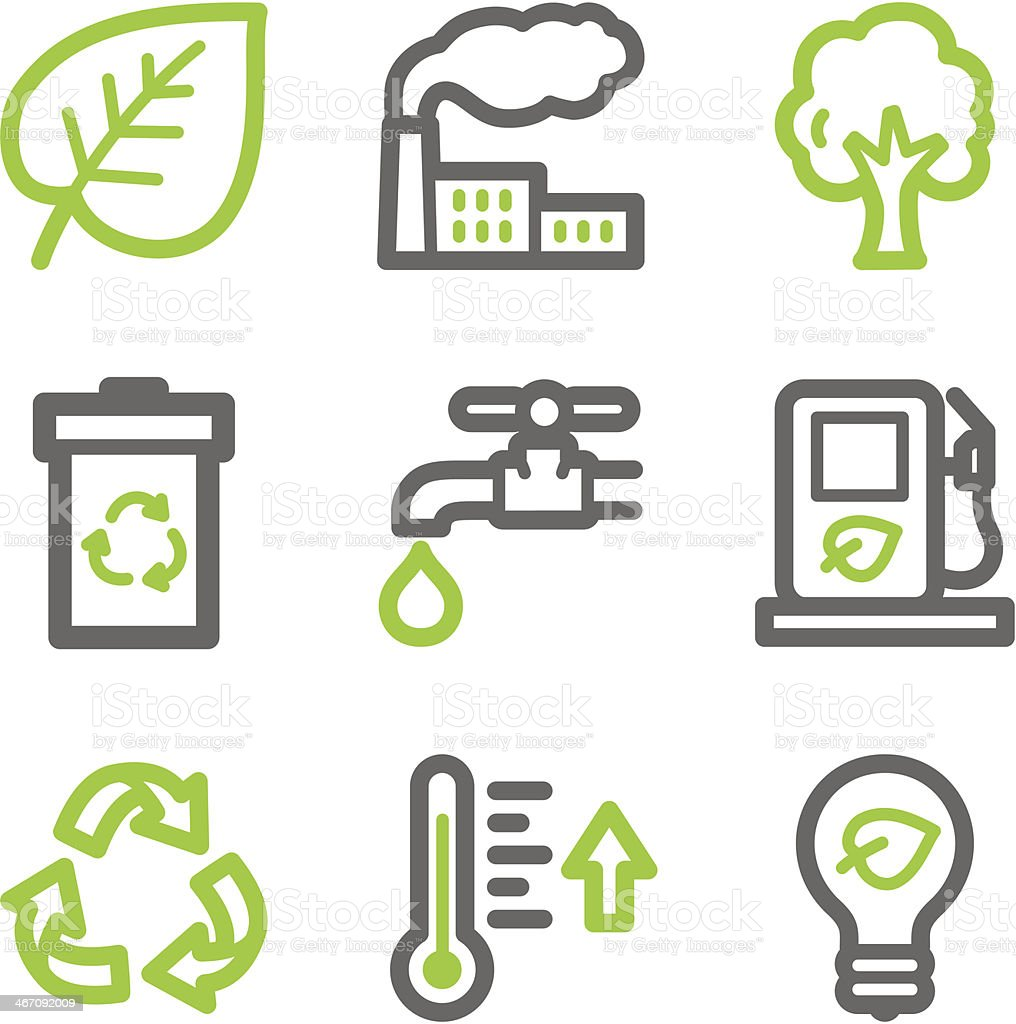 Eco web icons, green and gray contour series royalty-free stock vector art