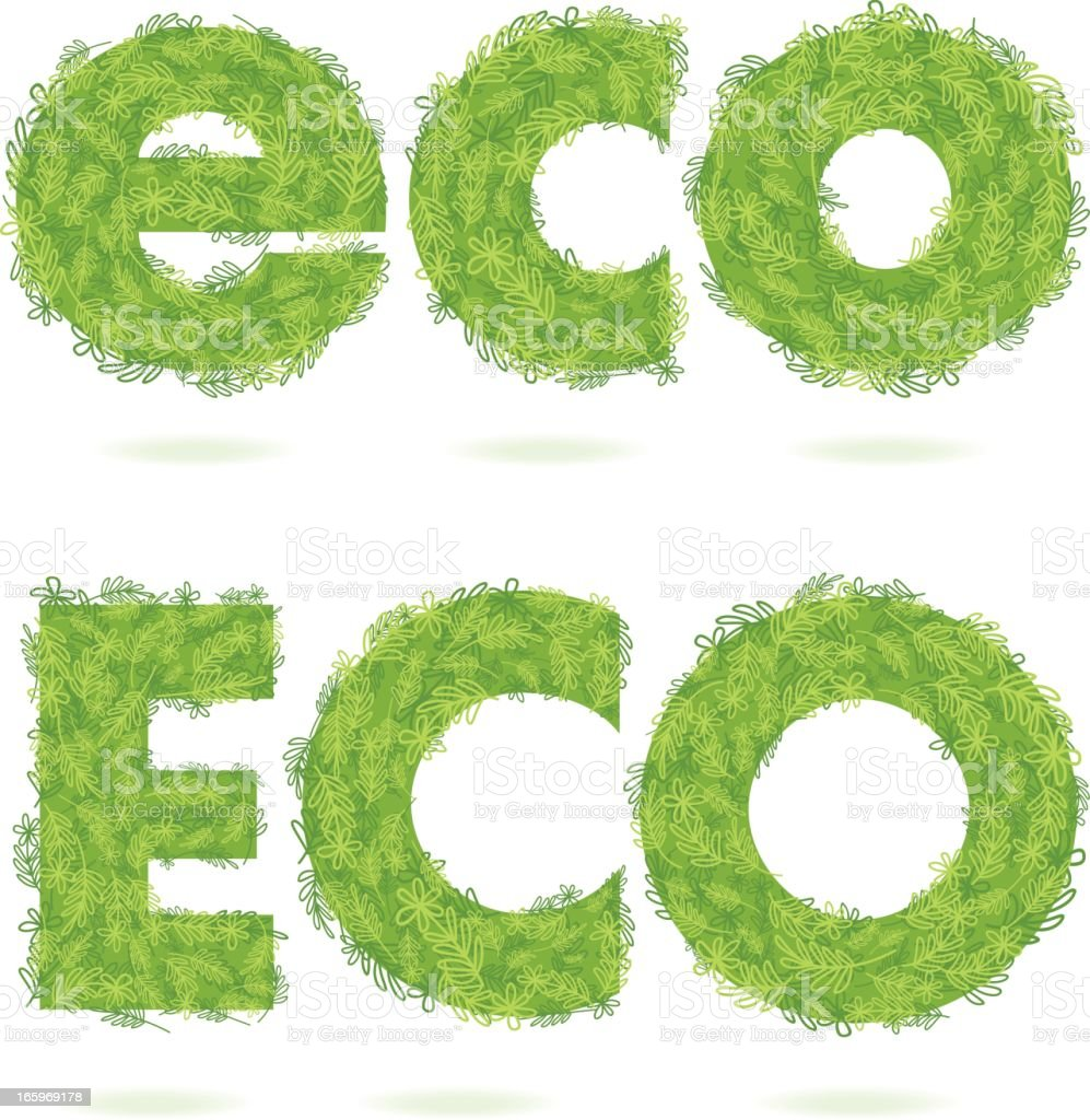 Eco Word With Sketchy Leaves & Flowers royalty-free stock vector art