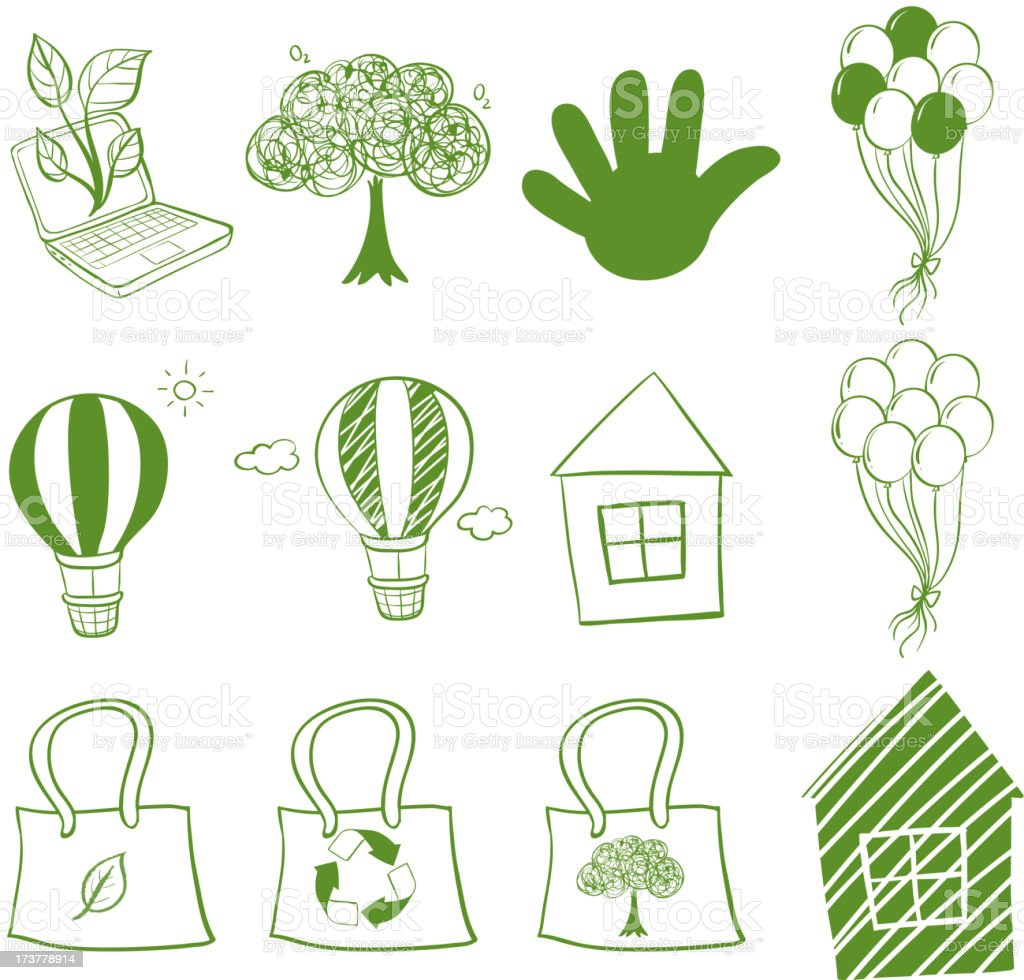 Eco-friendly drawings royalty-free stock vector art