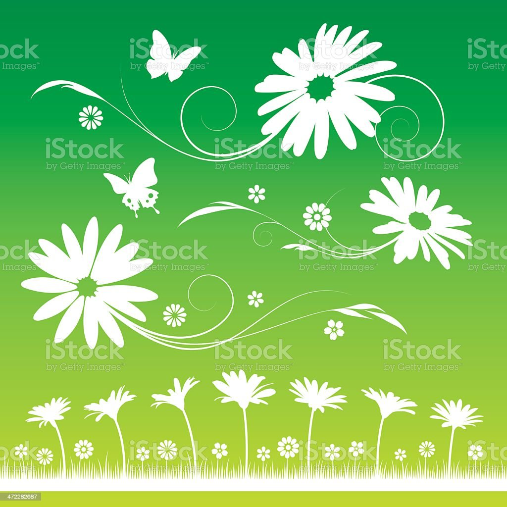 Eco-friendly green background of flowers and butterflies royalty-free stock vector art