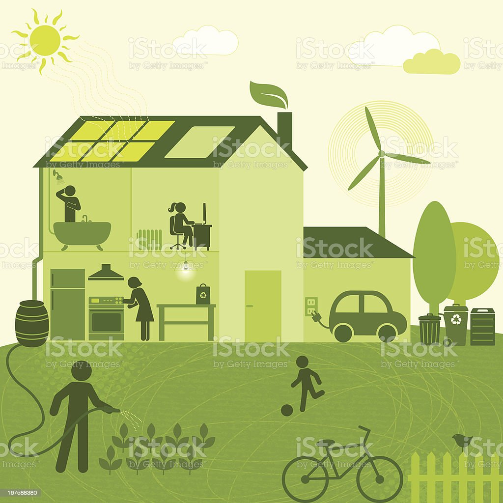 Eco-Friendly House (Green World Series) vector art illustration