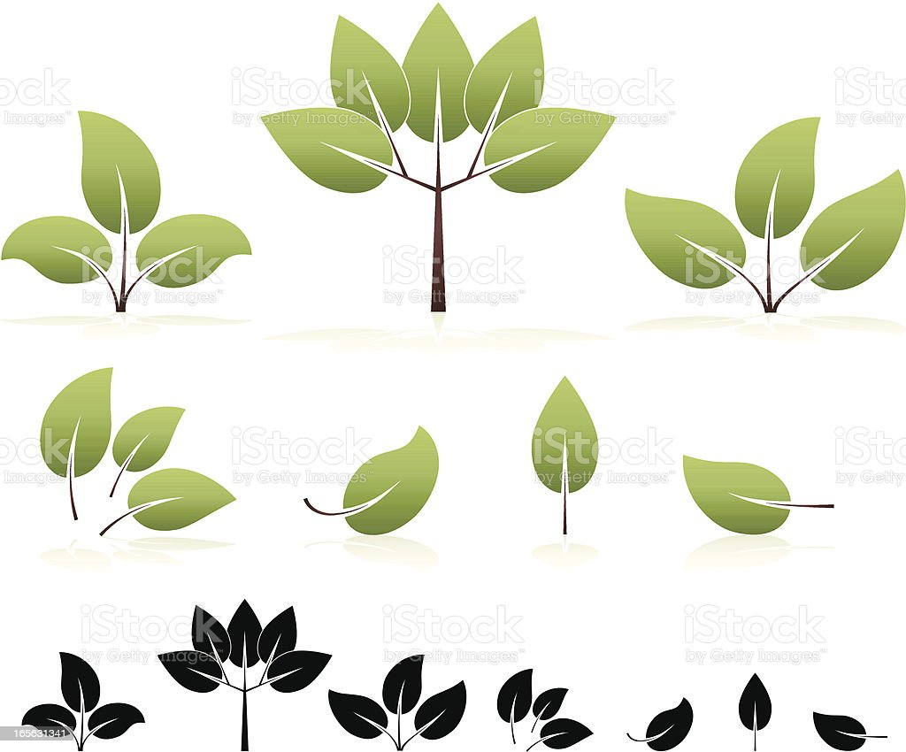 Eco-Friendly Stylized Leaves and Trees Design Elements, Icons Set royalty-free stock vector art