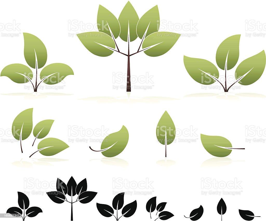 Umweltfreundliche stilisierte Blätter und Bäume-Design-Elemente, Icons Set Lizenzfreies vektor illustration