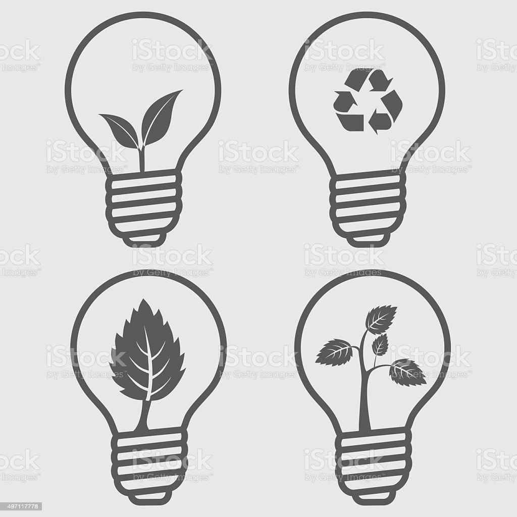 Eco-Lightbulbs vector art illustration