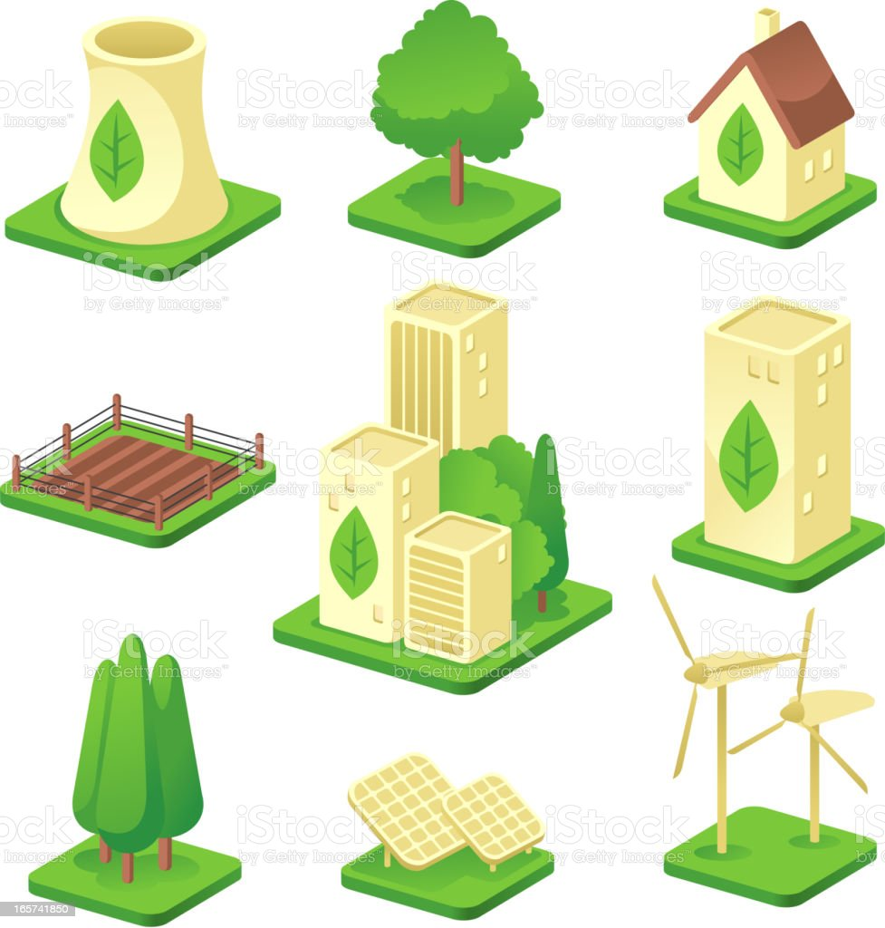 Ecologic city Green Environmental Built Structure Nature Energy Power Generation vector art illustration