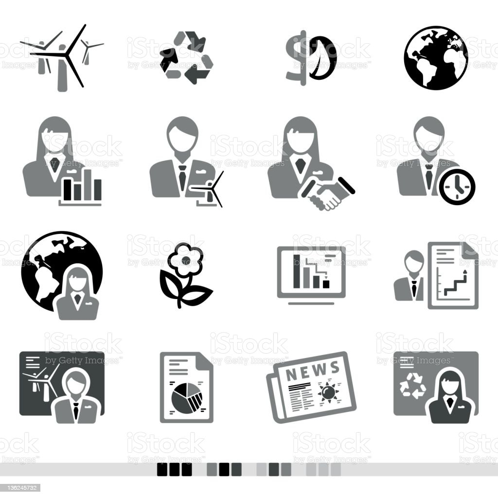 Ecological & Business   Grey Icons royalty-free stock vector art