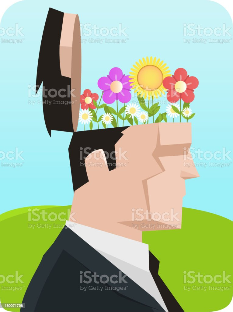Ecological Businessman with flower open flowering head royalty-free stock vector art