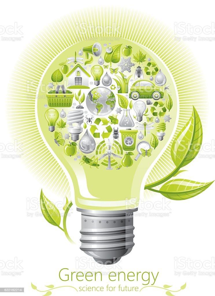 Ecological concept with lightbulb on white background vector art illustration