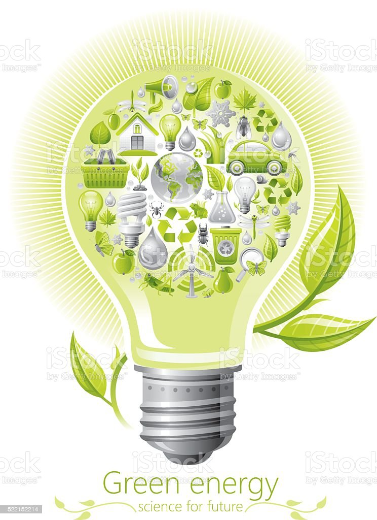 Ecological concept with lightbulb on white background vector art illustration