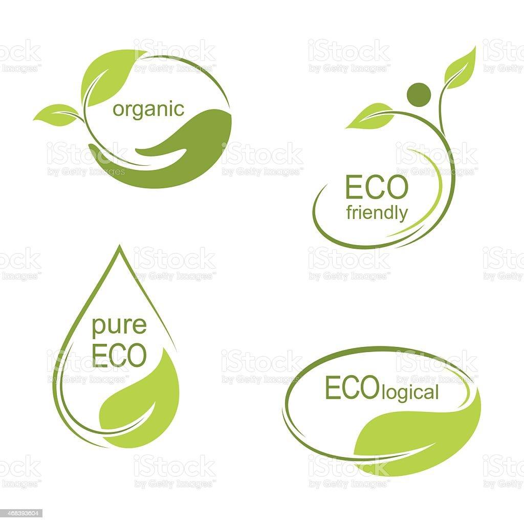 Ecological emblems and frames vector art illustration